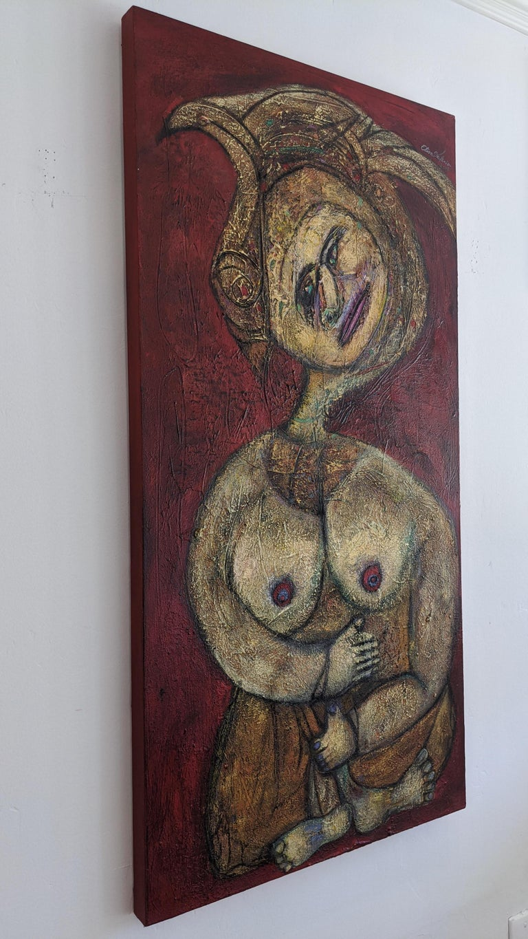 Painting, Layers of Paint, Gold, Red, Female Artist, Queen by Valerio For Sale 4