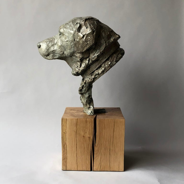 Sculpture Bronze Foundry capon LC 1/8 Bronze lost wax nuanced patina dark sand base polished oak masif. Born in 1960 in a family of artists collecting the bronzes of the Italian Renaissance, sculpture has always been part of the environment of