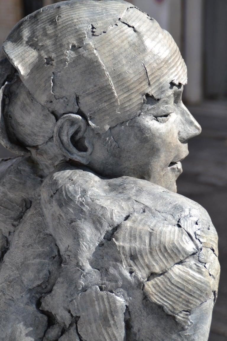 Tellinah - Gray Nude Sculpture by Elisabeth Cibot