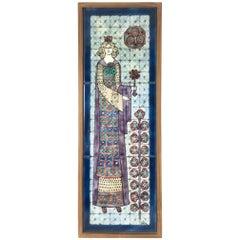 """Elisabeth, princess of roses"", Decorative Art Tile Painting by Edit Vén"