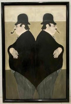 "Elisabeth Sabala ""Mirror Image"" Original Oil Painting Late 20th C"