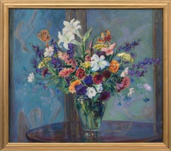Untitled (Vintage Painting, Still Life with Colorful Flowers, Blue Background )