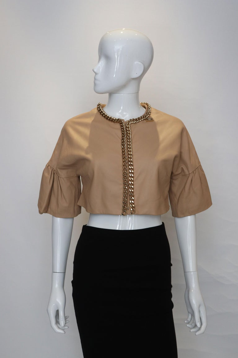 Brown  Elisabetta Franchi Leather Bolero For Sale