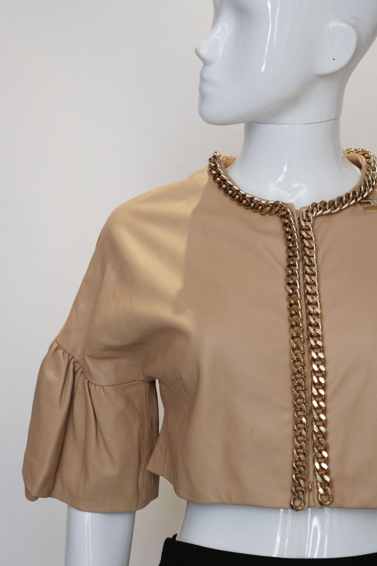Elisabetta Franchi Leather Bolero In Good Condition For Sale In London, GB