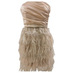 Elisabetta Franchi peach feathers dress