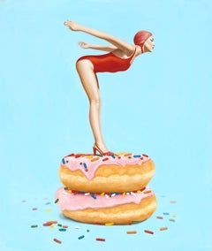 """""""Day Dream"""" surrealist oil painting of a woman in red suit diving off donuts"""