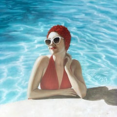 """""""Poolside"""" portrait of a woman in a red suit and cap in a blue pool"""