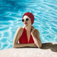 """Poolside"" portrait of a woman in a red suit and cap in a blue pool"