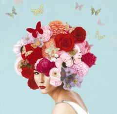 """""""Summer Botanical"""" surrealist portrait of girl with pink, red roses, butterflies"""