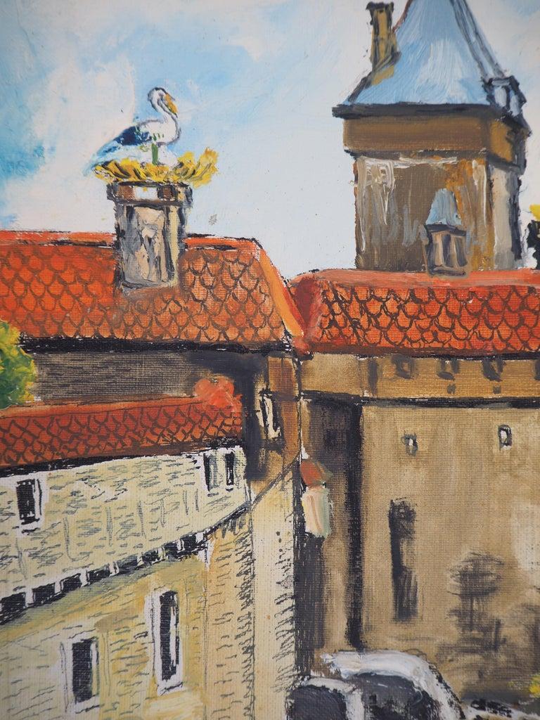 Alsace : Haut-Kœnigsbourg Castle - Original Oil on Canvas, Handsigned, c. 1930 - Brown Landscape Painting by Elisée Maclet