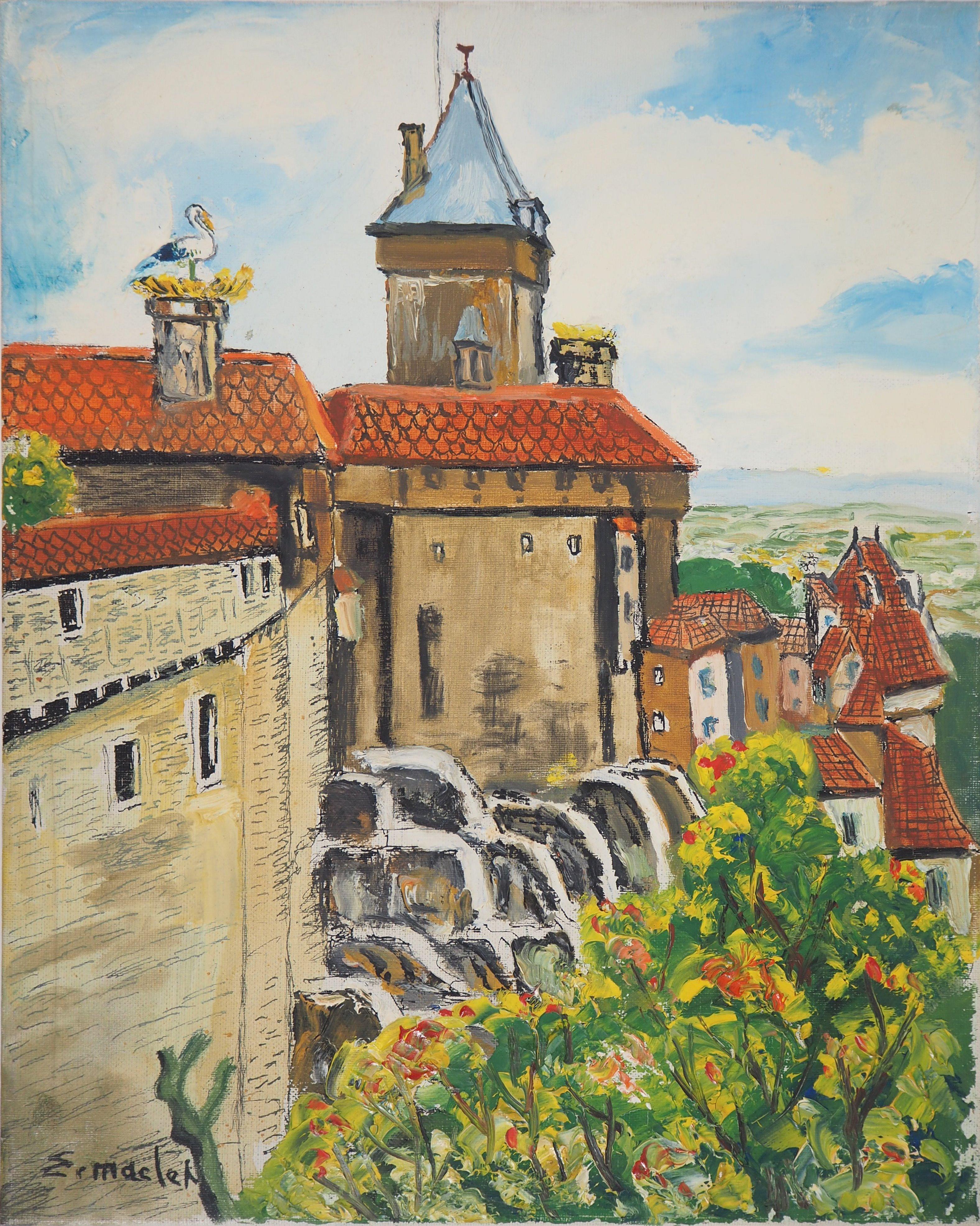 Alsace : Haut-Kœnigsbourg Castle - Original Oil on Canvas, Handsigned, c. 1930