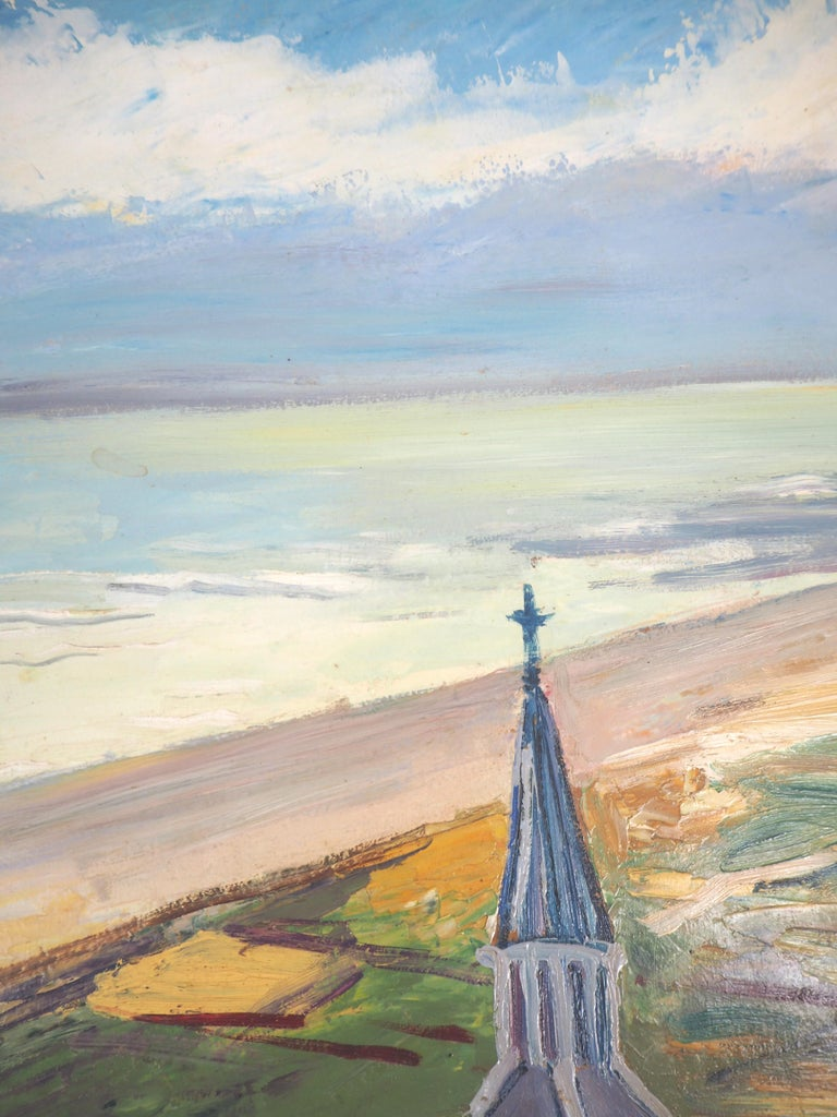 Brittany : Seaside Village - Original oil on borad - Signed For Sale 5