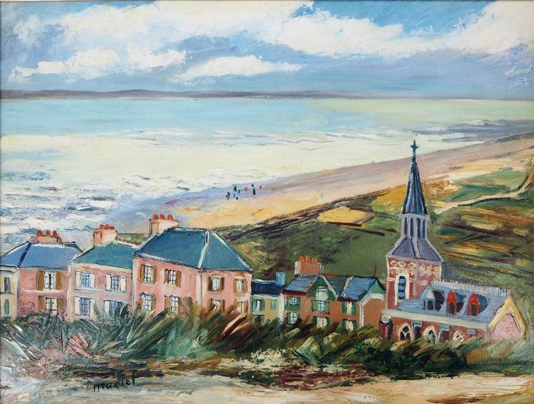 Brittany : Seaside Village - Original oil on borad - Signed - Post-Impressionist Painting by Elisée Maclet