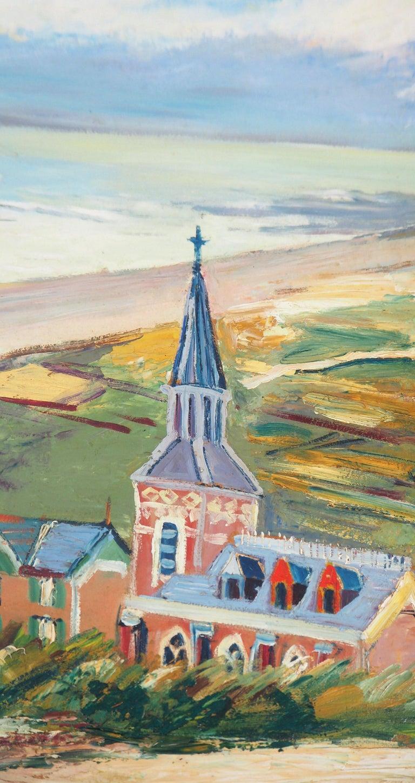 Brittany : Seaside Village - Original oil on borad - Signed - Brown Landscape Painting by Elisée Maclet