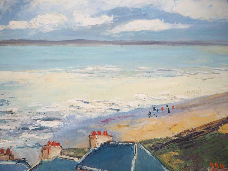 Brittany : Seaside Village - Original oil on borad - Signed For Sale 1