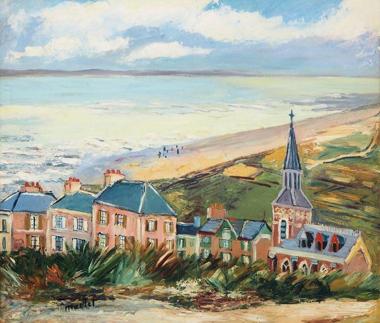 Brittany : Seaside Village - Original oil on borad - Signed For Sale 2