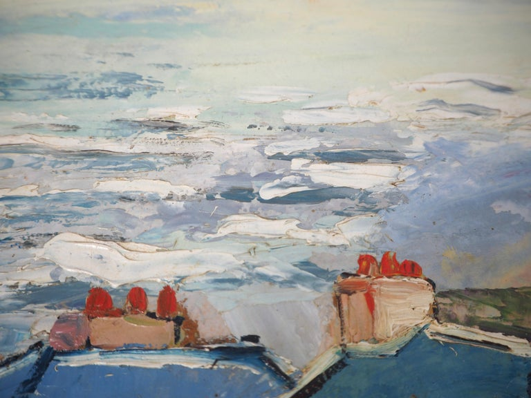 Brittany : Seaside Village - Original oil on borad - Signed For Sale 3