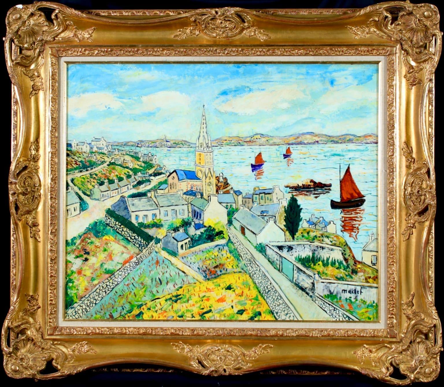 Ile de Batz - Post-Impressionist Oil, Boats at Sea Landscape by Elisee Maclet