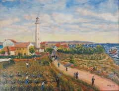 Landscape with a Lighthouse - Original Oil on Canvas, Handsigned, c. 1930