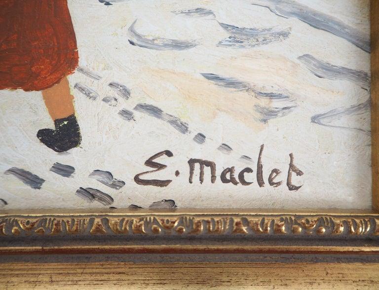 Paris, Montmartre under the snow - Original Oil on Canvas, Handsigned - Painting by Elisée Maclet