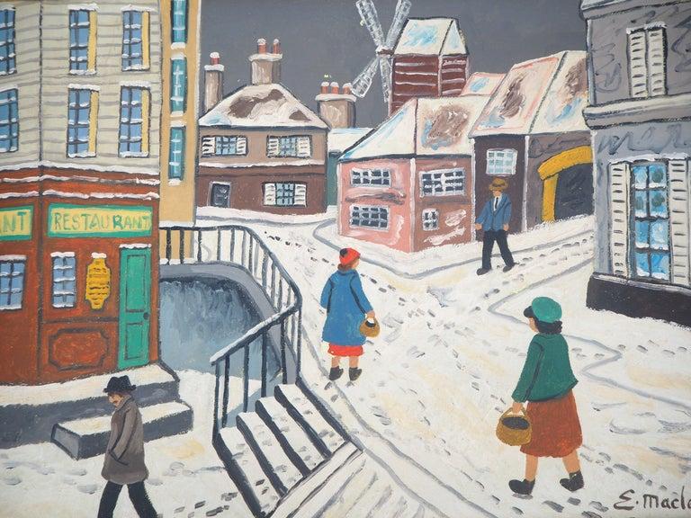 Paris, Montmartre under the snow - Original Oil on Canvas, Handsigned - Modern Painting by Elisée Maclet