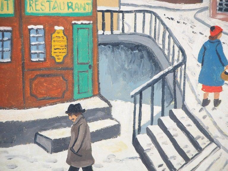 Paris, Montmartre under the snow - Original Oil on Canvas, Handsigned - Brown Landscape Painting by Elisée Maclet