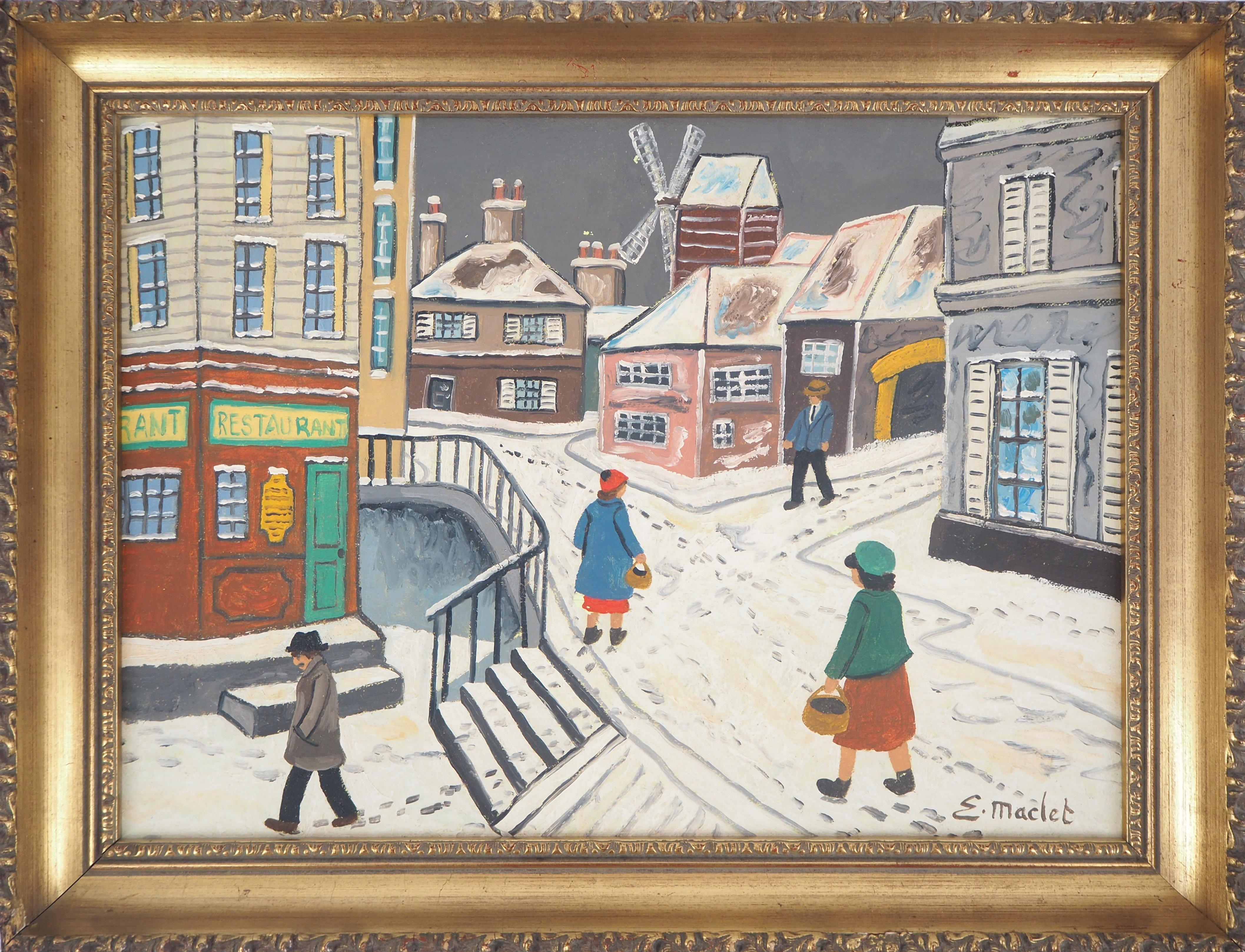 Paris, Montmartre under the snow - Original Oil on Canvas, Handsigned