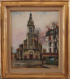 Paris : Saint Ouen Church - Original signed oil on Board - C. 1950