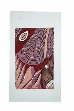 Emona 2, Elisia Nghidishange, relief print on paper, ink