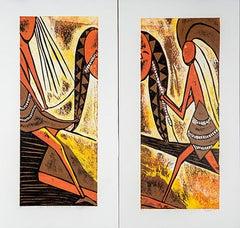 Fight over inheritance (i) & (ii), Elisia Nghidishange, relief print on paper