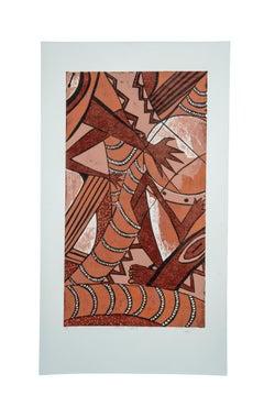Music Spirit, Elisia Nghidishange, relief print on paper