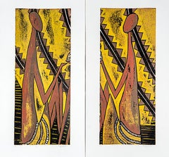 Sharing the Treasure (i) & (ii), Elisia Nghidishange, relief print, ink on paper