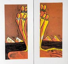 Watching & Watching (i), Elisia Nghidishange, relief print on paper, ink