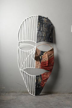 The mask of the two sides 2, Elisia Nghidishange, mixed media, fabric, plaster