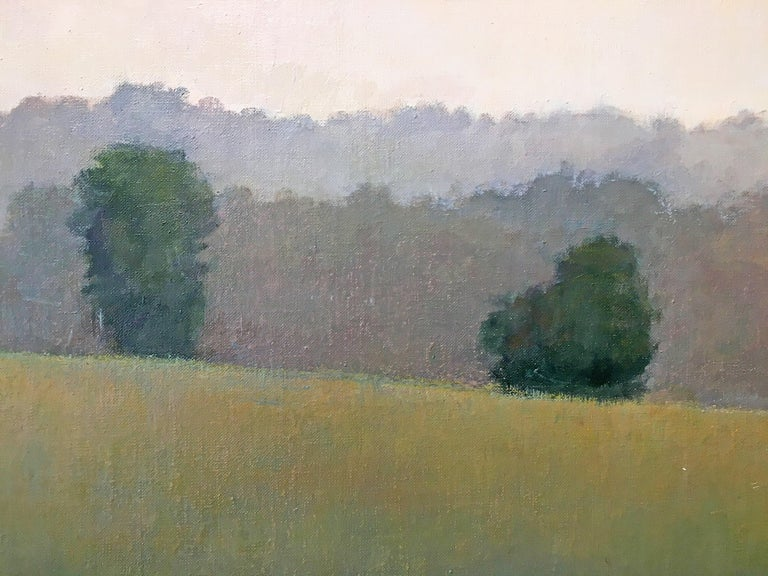 'Quiet Memory 2' in 2017 & 2019 by Elissa Gore. Oil on linen, 20 x 60 in. / Frame: 21.75 x 61.75 in. A serene and peaceful landscape painting featuring lush green hills and a forest on a sunlit day. In soft hues of pink, yellow, brown, green, white,