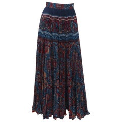 Elissa of California Bohemian Maxi Micro Pleated Skirt, 1970's