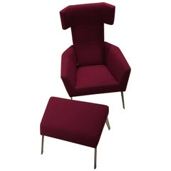 Elixer Reclining Lounge Chair in Magenta Fabric Brushed Stainless by Leolux