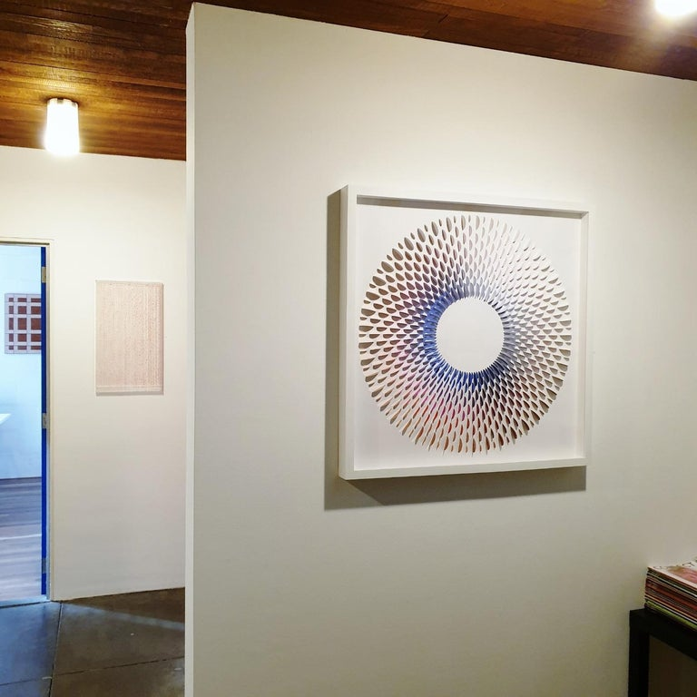 Circle Rozetta BB - contemporary modern abstract geometric paper relief painting - Painting by Eliza Kopec