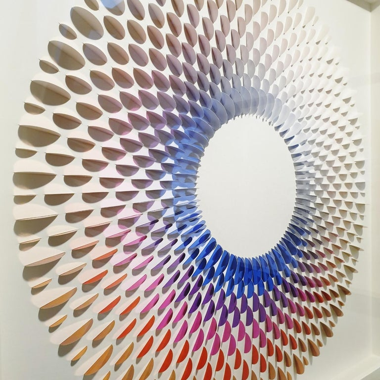 Circle Rozetta BB - contemporary modern abstract geometric paper relief painting - Contemporary Painting by Eliza Kopec