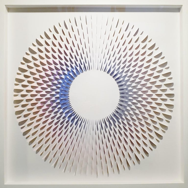 Eliza Kopec Abstract Painting - Circle Rozetta BB - contemporary modern abstract geometric paper relief painting
