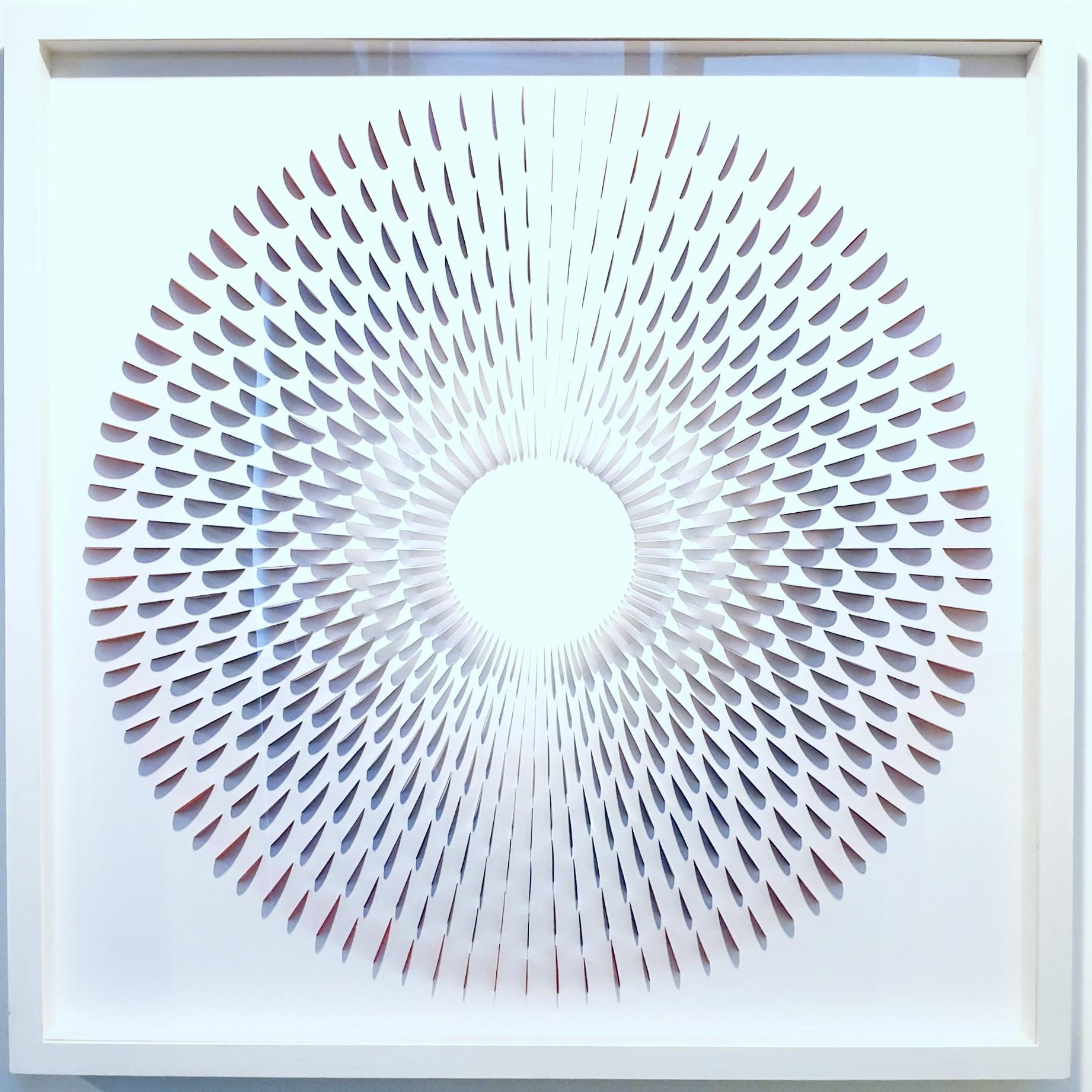 Circle Rozetta Grey & Red - contemporary modern geometric paper relief painting