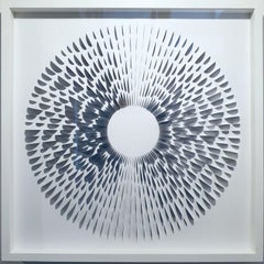Random Six Digits B&W II - contemporary modern geometric paper relief painting