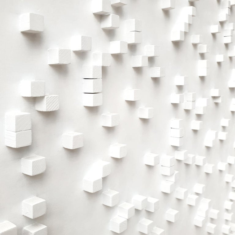 Sylvia Okwui Enwezor is a unique contemporary modern painting relief by renowned Polish-Dutch artist Eliza Kopec. This painting relief is a typical example of her preferred abstract geometric vocabulary and is one of her largest works in this style