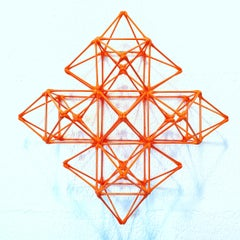 WFS-136-O - orange contemporary modern geometric wall sculpture painting