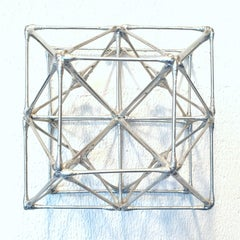 WFS-89-S - silver colour contemporary modern geometric wall sculpture painting