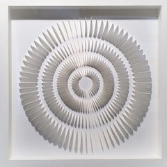 White - contemporary modern abstract geometric paper relief