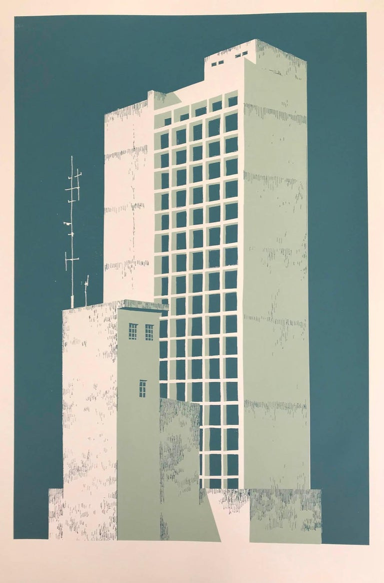 Tower Block – Manaus, Eliza Southwood, Limited Edition Silkscreen Print - Beige Landscape Print by Eliza Southwood