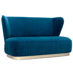 Elizabeth 2-Seat Sofa in Silk Velvet and Brushed Brass