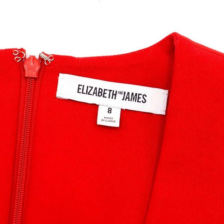 Elizabeth and James Red Asymmetric Sheath Midi Dress US 4 For Sale 1