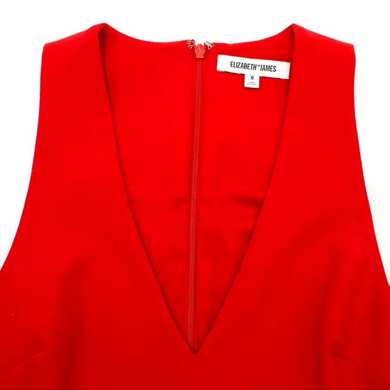 Elizabeth and James Red Asymmetric Sheath Midi Dress US 4 For Sale 2
